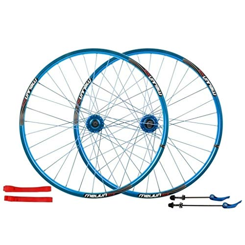MZPWJD Ciclismo Ruedas Juego Ruedas Bicicleta 26 Pulgadas MTB Bicicleta Delantera Y Rueda Trasera Llantas Aleación Doble Pared Freno Disco Cassette Volante Hub 7-10 Velocidad 32H (Color : Blue)