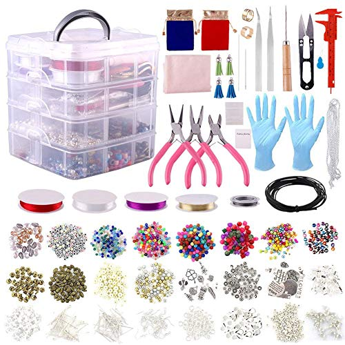 Kit de accesorios de joyería DIY que incluye diferentes cuentas, colgantes, piezas de base, alambre de cuentas, alicates y caja de almacenamiento para collar, pulsera, regalo para mujeres