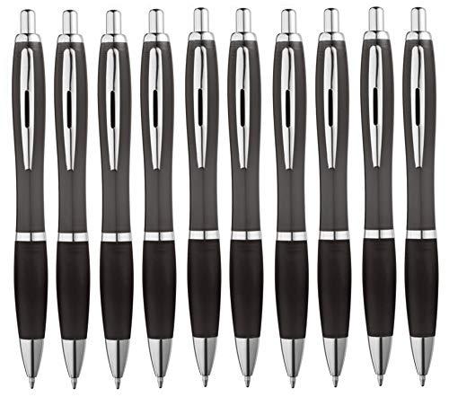 Libetui 10-er Pack Kugelschreiber rutschfeste Griffzone Großraumine Blau Gehäuse in Schwarz