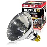 LUCKY HERP 100 Watt UVA+UVB Mercury Vapor Bulb High Intensity Self-Ballasted Heat Basking Lamp/Bulb/Light for Reptile and Amphibian(100W Clear)