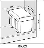 Einbau Abfallsammler 2x16 Liter schwarz ab 40er Schrankbreite Mülleimer Vollauszug - 2