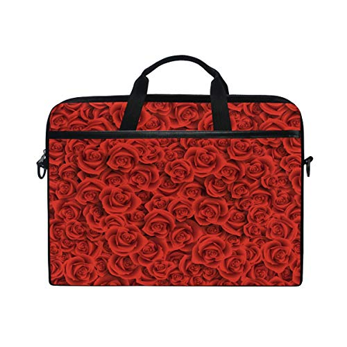 EZIOLY Red Roses Flowers Laptop Shoulder Messenger Bag Case Sleeve for 13 Inch to 14 inch Laptop