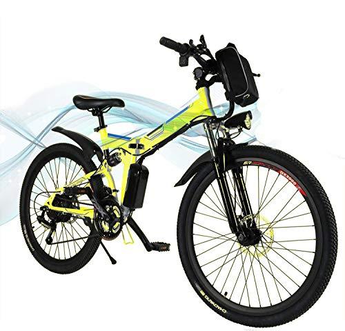 Jackbobo Vélo électrique Pliable, vélos électriques 36V 250W, vélo de Montagne à Batterie au Lithium 8A, vélo électrique de Grande capacité de 26 Pouces avec Batterie au Lithium et Chargeur (Yellow)