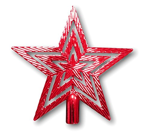 Urban Design Puntale per Albero di Natale a Forma di Stella, con Brillantini, 19 cm (Rosso)
