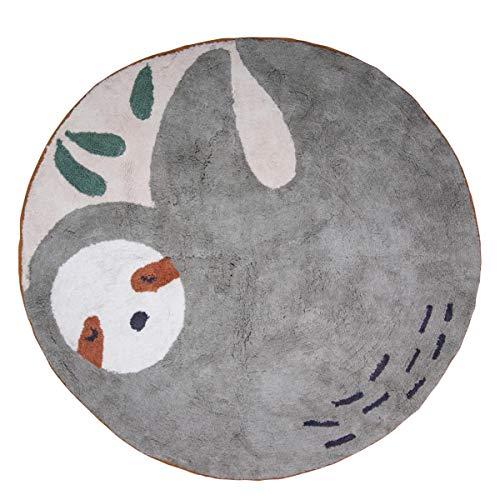 Sebra - Lacey das Faultier - Teppich - 100% Baumwolle - gewebt - Grau/Bunt - Rund - Ø 120cm