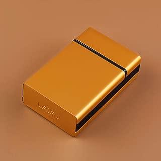 LBLMSB 20 Sticks Metal Portable Flip Cigarette Case/Ultra-Thin Creative Men's Cigarette Case (Color : Gold)