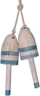 Hampton Nautical Vintage-Light-Blue-LB-7-2 Pack Set of 2-Wooden Vintage Light Blue Maine Lobster Trap Buoy 7