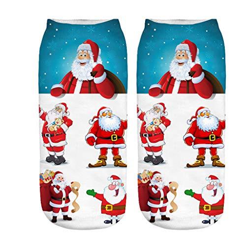 Kolylong® Unisex 3er Pack Weihnachtssocken Christmas Socks Weihnachtsmotiv Weihnachten Festlicher Kurz Socken Baumwolle Socken 3D Drucken Design für Damen und Herren