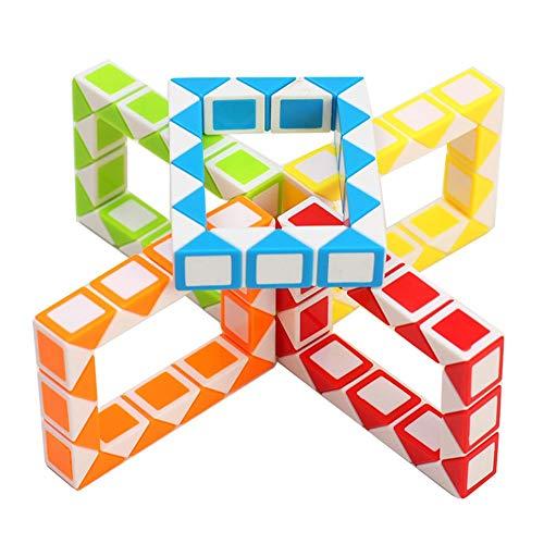 RENFEIYUAN 5 Paquete de Mini 24 Parte MA Snake Foldable MA PALOTE Juguete Relajante e Interesante Juguete Rubik Cubo