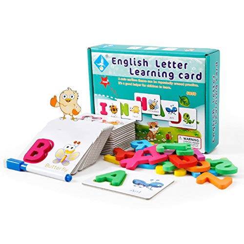 MezoJaoie Numbers and Alphabets Flash Cards, Engelse leerkaarten, puzzel Letter-kaart Alfabet Flash-kaarten met pen voor kinderen Peuters