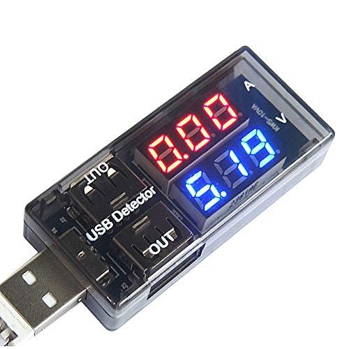 ARCELI Cargador USB Medidor de Voltaje Actual Detector de Carga Voltímetro de la batería Amperímetro Multímetro Probador de USB Indicador de energía móvil Indicador de DC Monitor LED