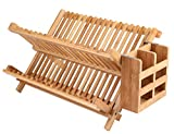 Lawei Bamboo Dish Drying Rack with Utensil Holder - Collapsible Dish Drainer Foldable Dish Rack Bamboo Plate Rack for Plates, Cups, Mugs, Utensil, Flatwares