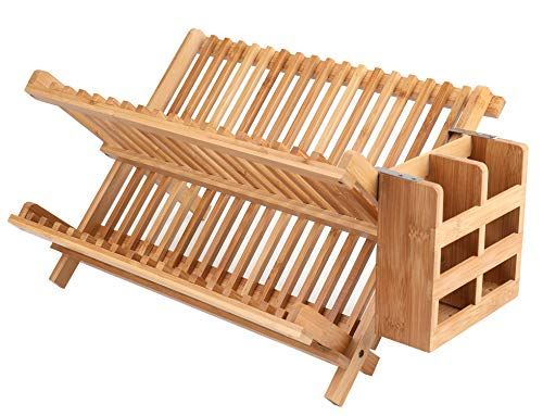 Lawei Bamboo Dish Drying Rack with Utensil Holder  Collapsible Dish Drainer Foldable Dish Rack Bamboo Plate Rack for Plates Cups Mugs Utensil Flatwares