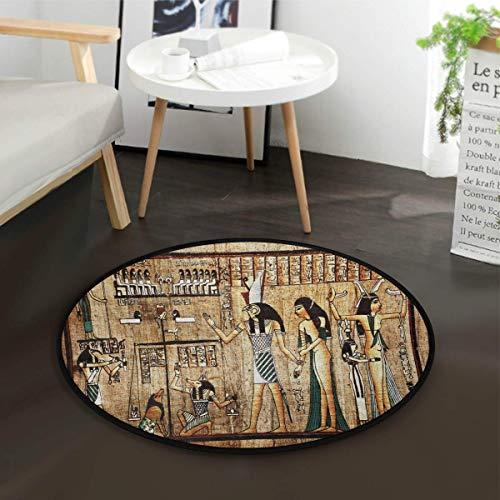 W-WEE Vintage ägyptischer Papyrus runder Bereich Teppich für Wohnzimmer Schlafzimmer