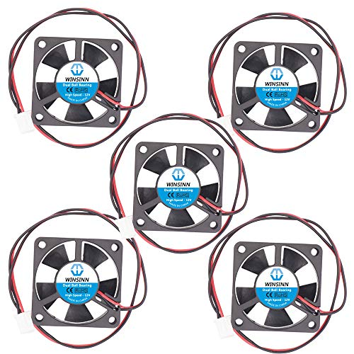 WINSINN Ventilador de 35 mm, 12 V, doble rodamiento de bolas, sin escobillas 3510, 35 x 10 mm, alta velocidad (paquete de 5 unidades)