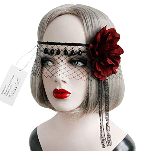 Bodermincer Halloween Girls Women Black Sexy Lady Lace Mask With Flower Cutout Eye Mask for Masquerade Party Fancy Dress Costume Decorative Masks (Black)