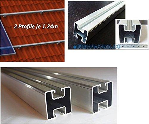 2 x Solar Aluprofil je 1.20 m. 40 x 40 mm. Befestigung für Dachhaken, Stockschraube.