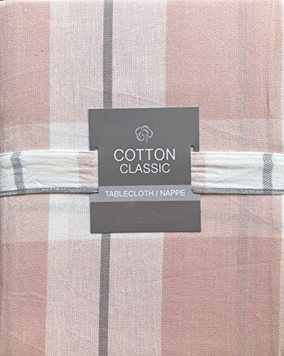 Cotton Classic Tablecloth Pink Cream Gray Plaid Stripes Pattern - 60 Inches Round