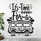 JXWH Calcomanía de Pared de 42x35 cm Volkswagen Travel Bus Camper Es Hora de Decorar Pegatinas de Pared para agencias de Viajes Familiares Vinilo