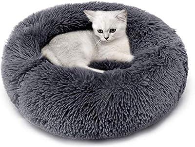 Calming Dog Beds Pets Plush Round Donut Cat Bed Cuddler Cushion,Machine Washable,Dark Grey,35''