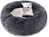 Legendog Cat Bed, Cat Bed for Indoor Cats Cat Bed Round Kitten Cushion Bed, Faux Fur Cat Beds for Small Cat and Small Dog, Plush Soft Cat Sleeping Bed