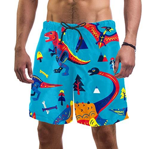 ATOMO Pantalones cortos de natación para hombre dinosaurio azul casual surf playa pantalones cortos de secado rápido - - XXL