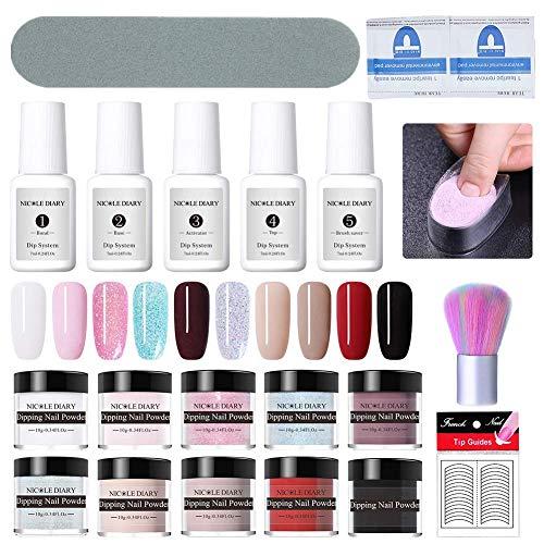 NICOLE DIARY Dip Nail Powder Starter Kit Líquido del sistema de inmersión para uñas francesas con limas para uñas Cepillo de limpieza + Bandeja de contenedores de inmersión de uñas
