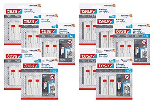 Tesa Verstellbarer Klebenagel für Tapeten und Putz/Selbstklebender Nagel von tesa Powerstrips / 2 x 1 kg Halteleistung (1 kg - 20 Nägel)