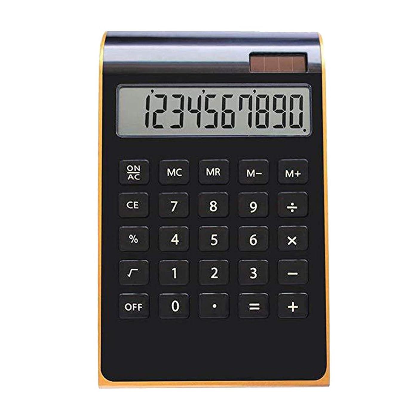 大いにけがをする思いつくSTOBOK 電卓 電子卓上電卓 12桁 大型ディスプレイ ソーラー液晶ディスプレイ 超薄型ゴールドボーダー 金融オフィス用 ブラック