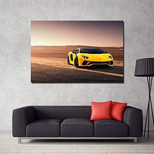VVSUN Sunset Yellow Lambo Aventador Supercar Poster Lienzo Pintura Pared Arte impresión Imagen para Sala de Estar decoración del hogar 60X90cm 24x36 Pulgadas sin Marco