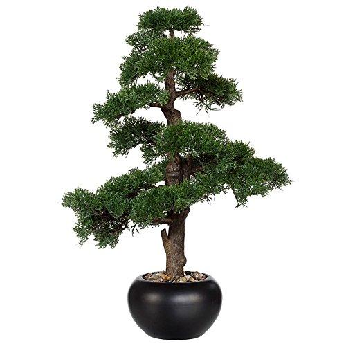 Kunstpflanze Bonsai Zeder mit Dekokies und schwarzem Keramiktopf. ca. 70 cm