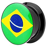 Piersando Piercing Ohr Plug Flesh Tunnel Fahne Motiv Fussball EM & WM Länderflagge Fanartikel Land Flagge Schmuck Brasilien 25mm