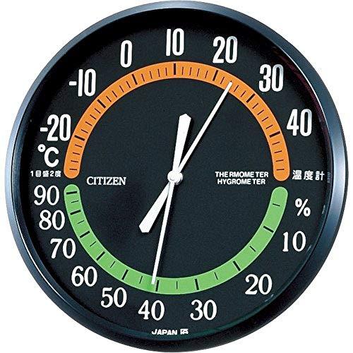 リズム シチズン 温度計 ・ 湿度計 アナログ 掛け タイプ TM-42 黒 CITIZEN 9CZ013-002
