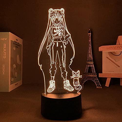 3D ilusión lámpara de humor led noche luz anime marinero luna para el hogar niños dormitorio manga Ilustración vivero decoración negro Base_mit control remoto