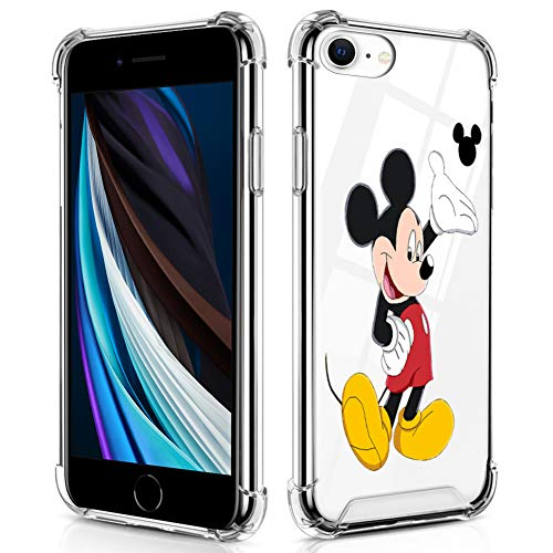 DISNEY COLLECTION iPhone SE 2020/7/8 Case Clear Cartoons Mickey Mouse Design Hybrid TPU + PC Shock Absorption Anti Scratch Transparent Protective Case for iPhone 7/8/SE20