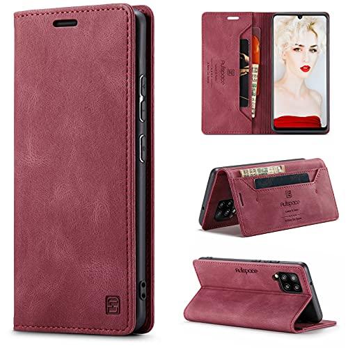 HülleNN Kompatibel mit Samsung Galaxy A42 5G Hülle Handyhülle Premium Leder Flip Hülle Magnetisch Klapphülle Wallet Lederhülle für Männer Frauen RFID Schutz Silikon Bumper Schutzhülle Geldbörse Wein Rot