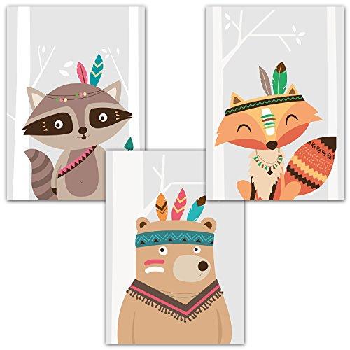 Frechdax® Kinder Wandbilder 3er Set A4 | Dekoration für Babyzimmer, Kinderzimmer | Set-04