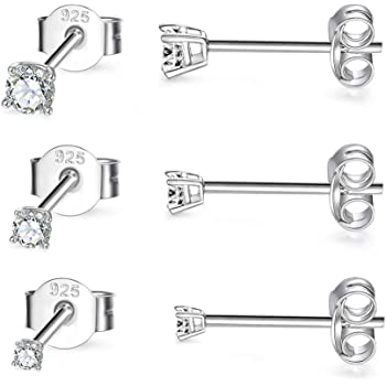3 Pairs Tiny Ball Stud Earrings Round CZ Cubic/ Zirconia Earrings Pearl Earrings Set Cartilage Small Tragus Earrings Sterling Silver Stud Earrings for Women Girls 2mm,3mm,4mm