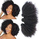 Feibin Brazilian Humah Hair Afro Kinky Curly Hair Weave Human Bundles 8 10 12 Inch 4B 4c Unprocessed Brazilian Virgin Remy Wavy Human Hair Bundles Natural Curly Hair Extensions