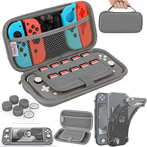 HEYSTOP Compatible with Switch Lite Carrying Case, Switch Lite Case with Soft Glitter TPU Protective Case Games Card 6 Thumb Grip Caps for Nintendo Switch Lite Accessories Kit(Grey)