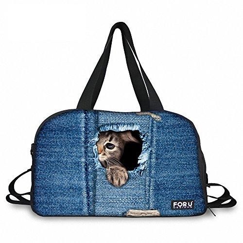 Custom Taschen, Denim Blick PET Animal Drucken Canvas Tasche Frauenreise Tasche große Kapazität Reisetasche Männer Reisegepäck Sack Taschen
