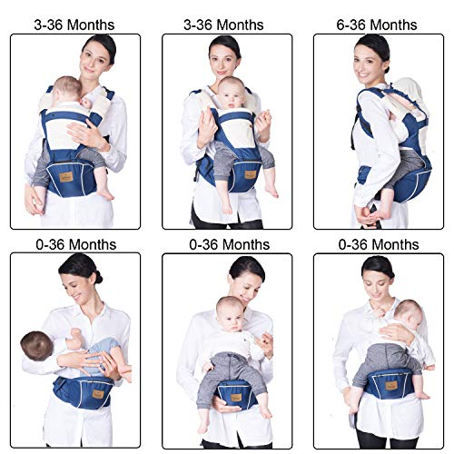 Bebamour Baby Carrier for 0-36Months, Breathable Baby Carrier Backpack for Newborn to Toddler, Approved by Safety Standard, Ergonomic Baby Hip Seat 6 in 1 Front Carrier (Dark Blue)