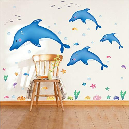 HKJNDS Salle De Jeux Pour Stickers Muraux Enfants Nursery Dessin Animé Salle De Bains Toilettes Imperméables Stickers Muraux Décoratifs Underwater World Dolphin