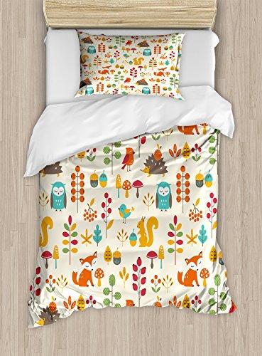 Ambesonne Children Duvet Cover Set, Kids Autumn Pattern with Owl Fox Squirrel Birds Animal Leaves Print, Decorative 2 Piece Bedding Set with 1 Pillow Sham, Twin Size, Cream Orange