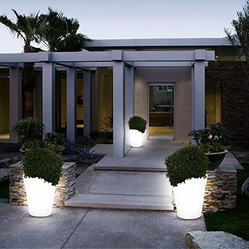 3x LED Solar Leuchten Blumen Topf Außen Beleuchtungen Dekorationen Steh Lampen