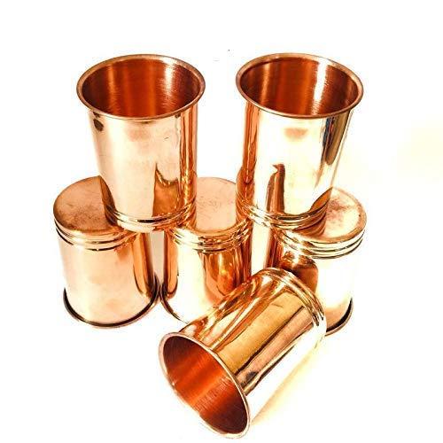 WorldOfIndianArt Vaso de cobre puro de 300 ml, juego de 6 unidades para decoración del hogar y la cocina