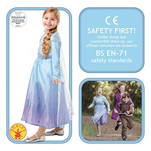 Disney- Disfraz Elsa Travel Frozen2 Deluxe Costume, Multicolore, L, 300506-L