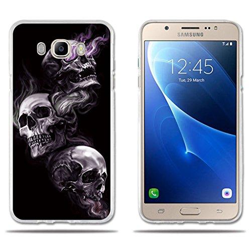 Funda Samsung Galaxy On8-FUBAODA-Dibujo Artistico con 3 Cráneos,Amortigua los Golpes, Funda Protectora Anti-Golpes para Samsung Galaxy On8 (2016) (5.5')