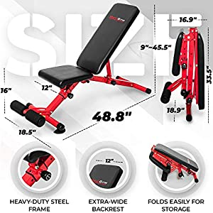 Adjustable Weight Bench [2021 Version] - Foldable Incline Exercise Bench with Extra-Wide Backrest - Pre-Assembled for Easy Setup - Heavy-Duty Steel - Strength Training Workout Benches For Home Gym