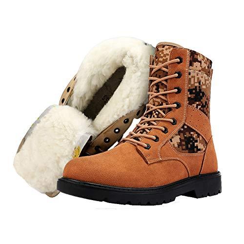 La lana de invierno de alta algodón de la tapa zapatos, gruesa antideslizante y resistente al frío de la nieve botas, zapatos de trabajo de cuero impermeable ya prueba de viento del ante,Camuflaje,44